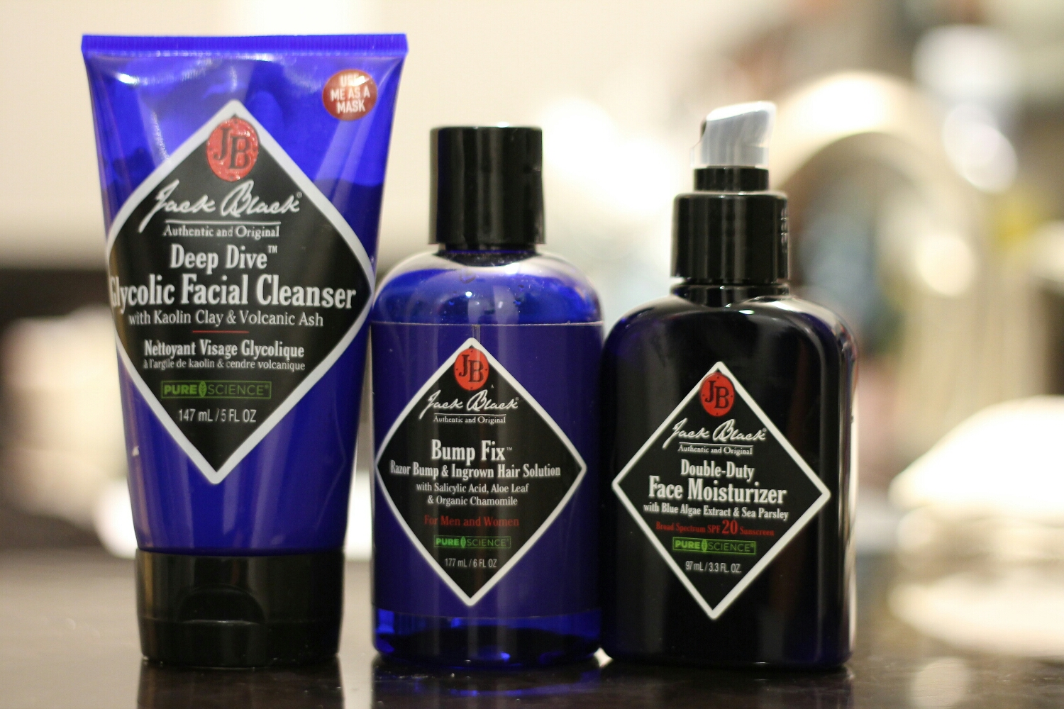 Jack Black Facial Cleanser, Bump fix, & Moisturizer.