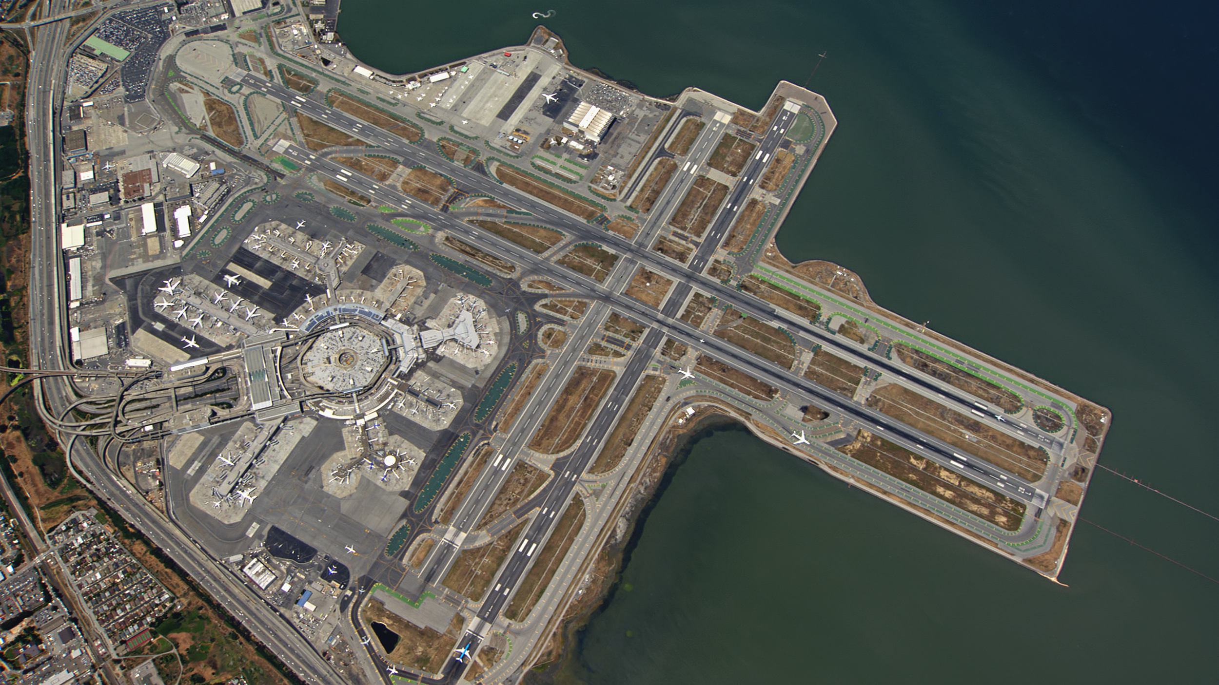 Aerial shot high above San Francisco International Airport.