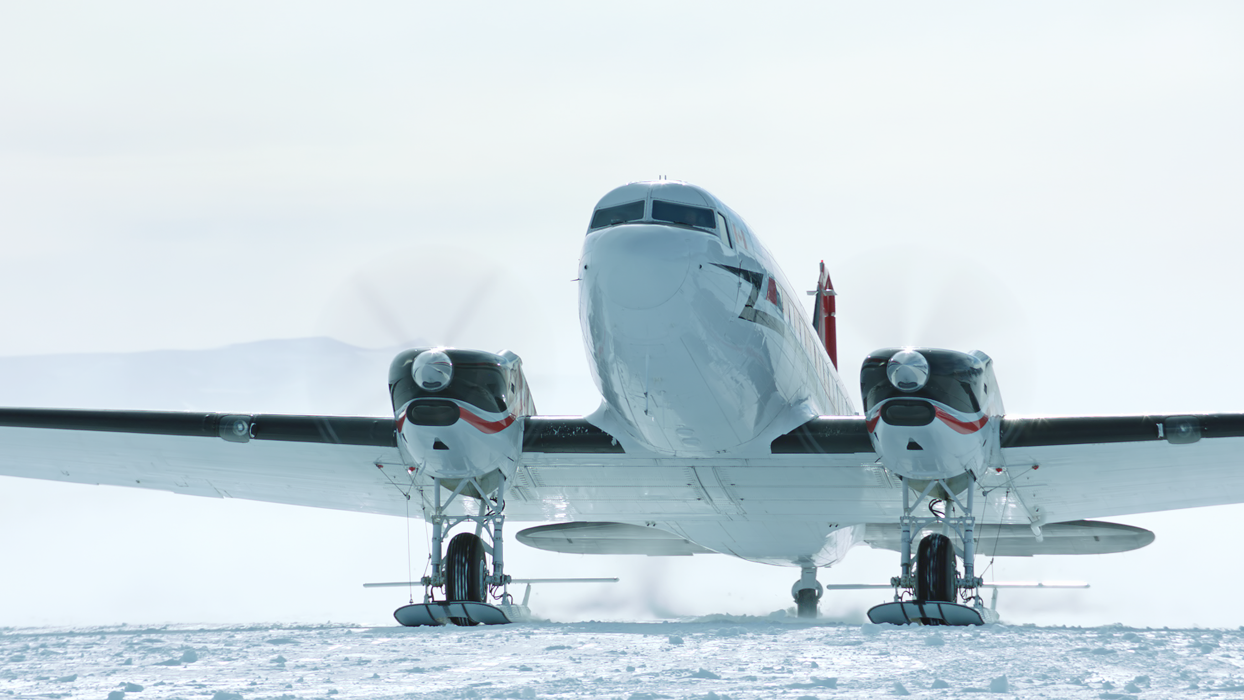 DC-3 taxiing in Union Glacier, Antarctica.