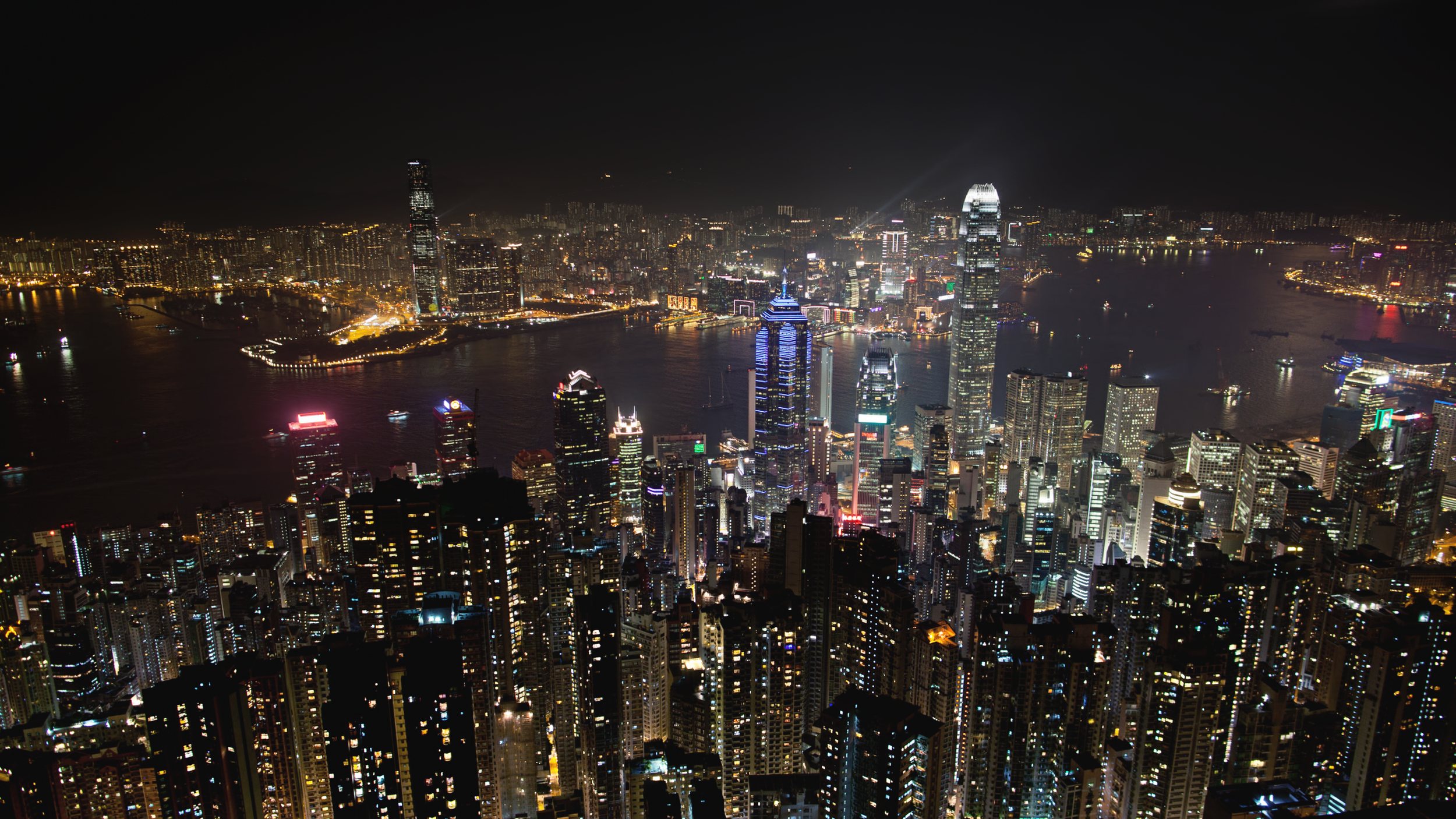 View of Hong Kong city skyline.