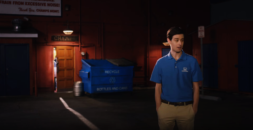 A slightly awkward moment during a SoCal Honda commercial