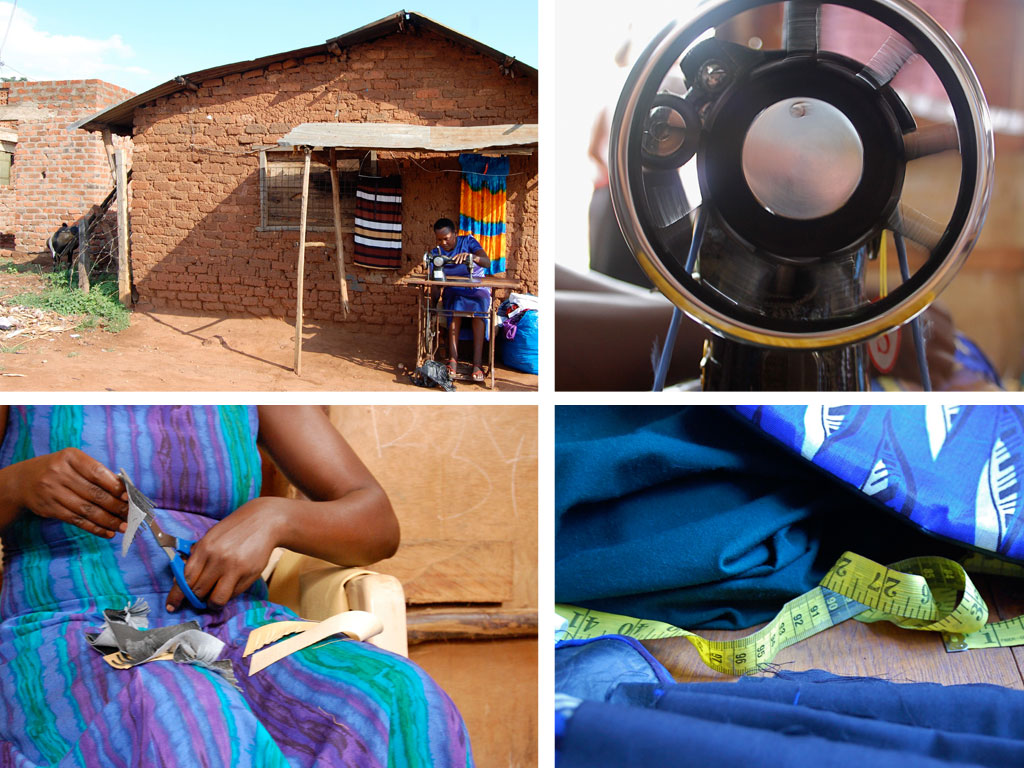 Sarah works at her tailoring business in Namatala.
