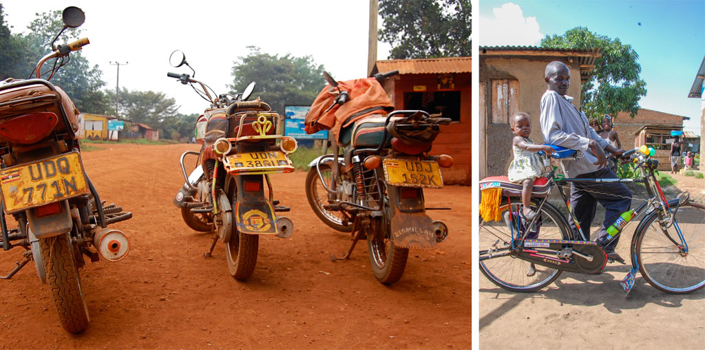 (L) Boda boda motorcycle taxis. (R) Susan's husband on his bicycle taxi in Namatala.