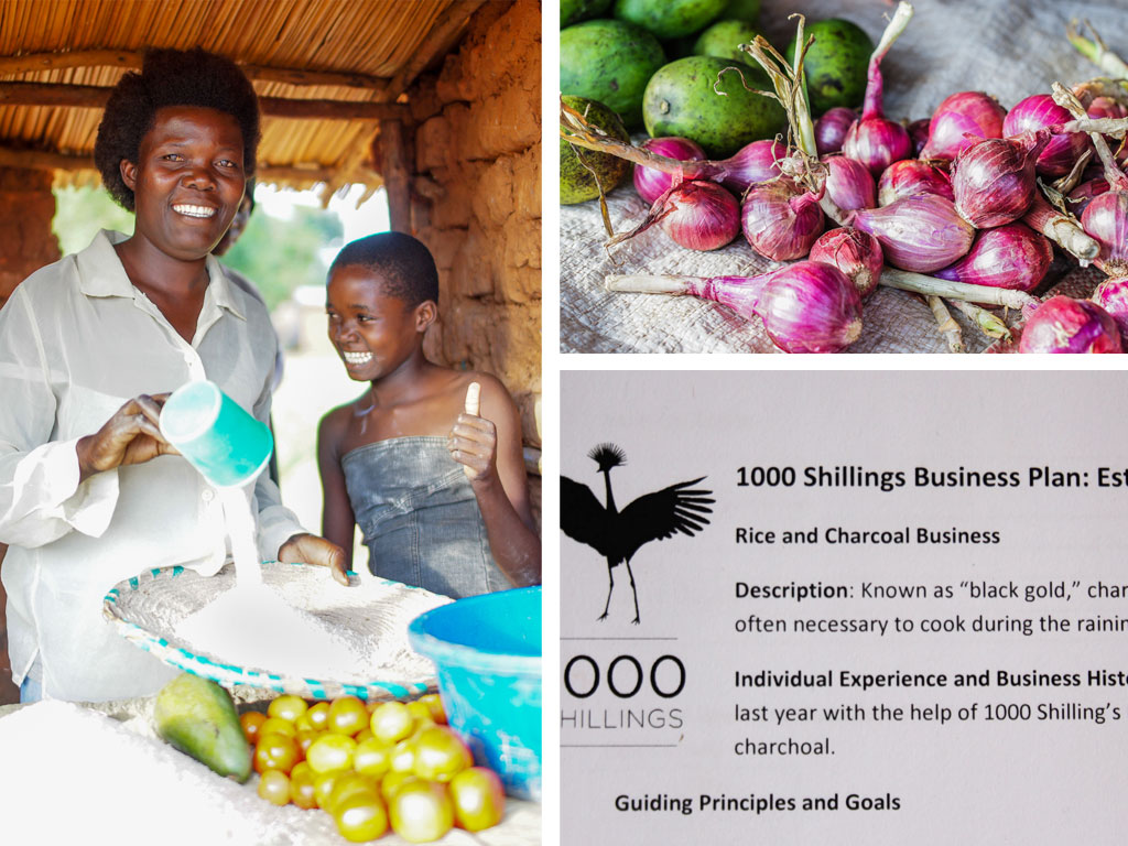 (L) Esther works at her stand in Namatala. (R) Esther's original business plan - selling rice and charcoal.
