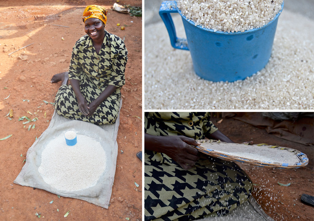 Agnes selling rice on the ground before she used her grant to buy a stand.