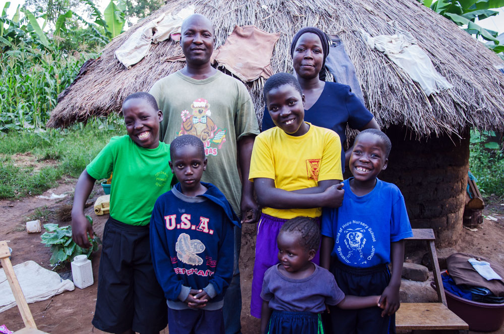 Grace with her husband and children in Namatala.