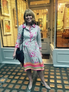 Annabel Fairfax pictured outside Cricket Fine Art, wearing Eponine London