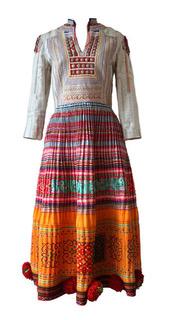 Hmong Dress with Pom Pom Trim