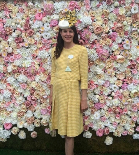 Laura wearing Eponine and one of her hats from her Butterfly House Collection at Ascot