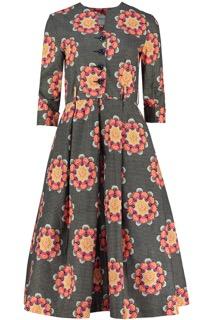 Lotus Flower Shirtwaister Dress