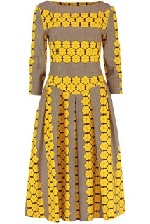 Gold and Yellow Flowers Dropped Waist Dress