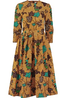 Green Chicken and Leaves Round Neck Dress