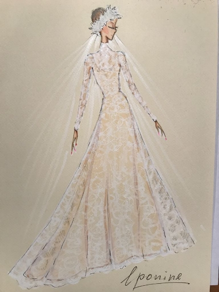 A sketch of a previous Eponine wedding dress