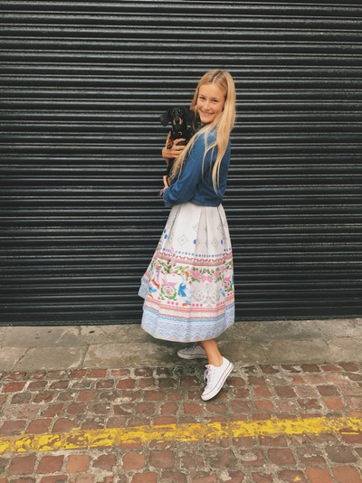 Tili wearing her Russian  Ducks with Pink Flowers flax cotton skirt
