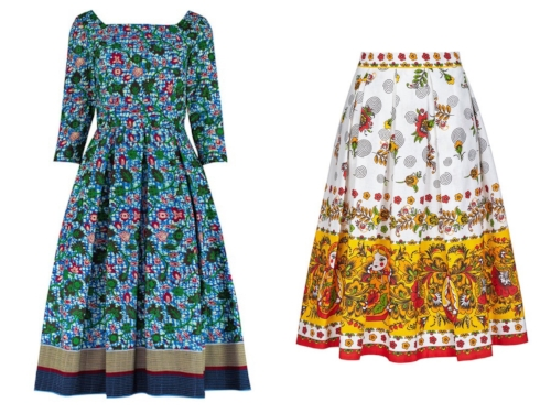 The Blue, Green and Red Leaves with Trim Square Neck dress and the Russian Dolls skirt