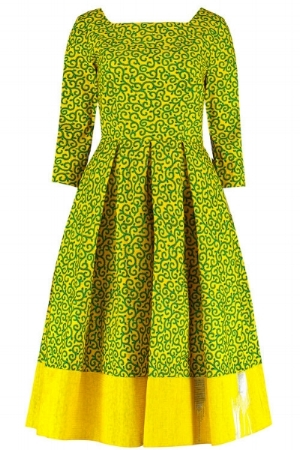The Yellow and Green Swirls with Trim Square Neck