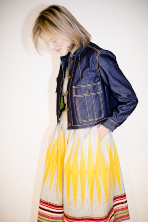 Gemma showing how to bridge the gap from summer to winter by teaming her African cotton dress with an Eponine denim jacket