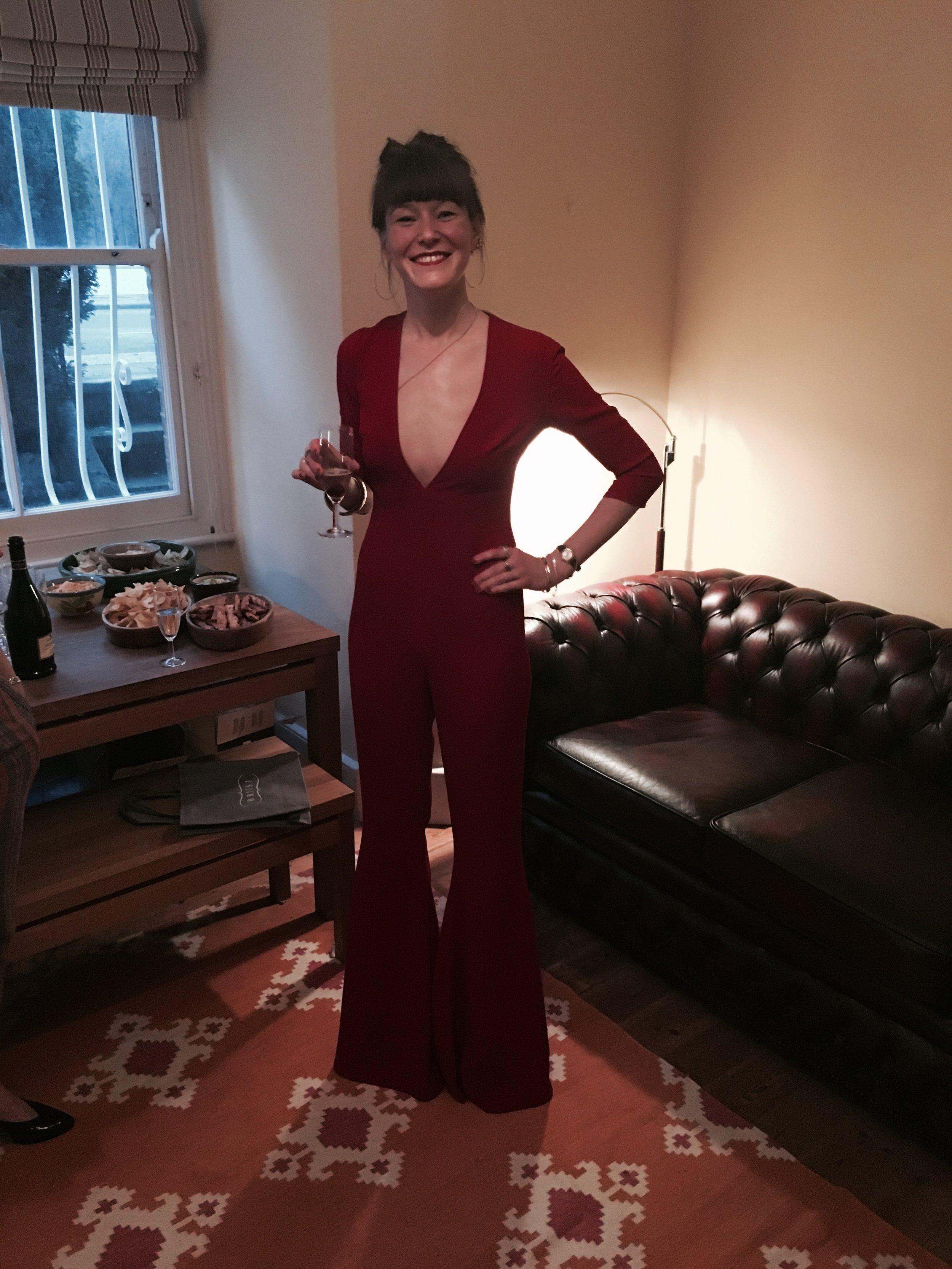Rosemary wearing a bespoke Eponine jumpsuit