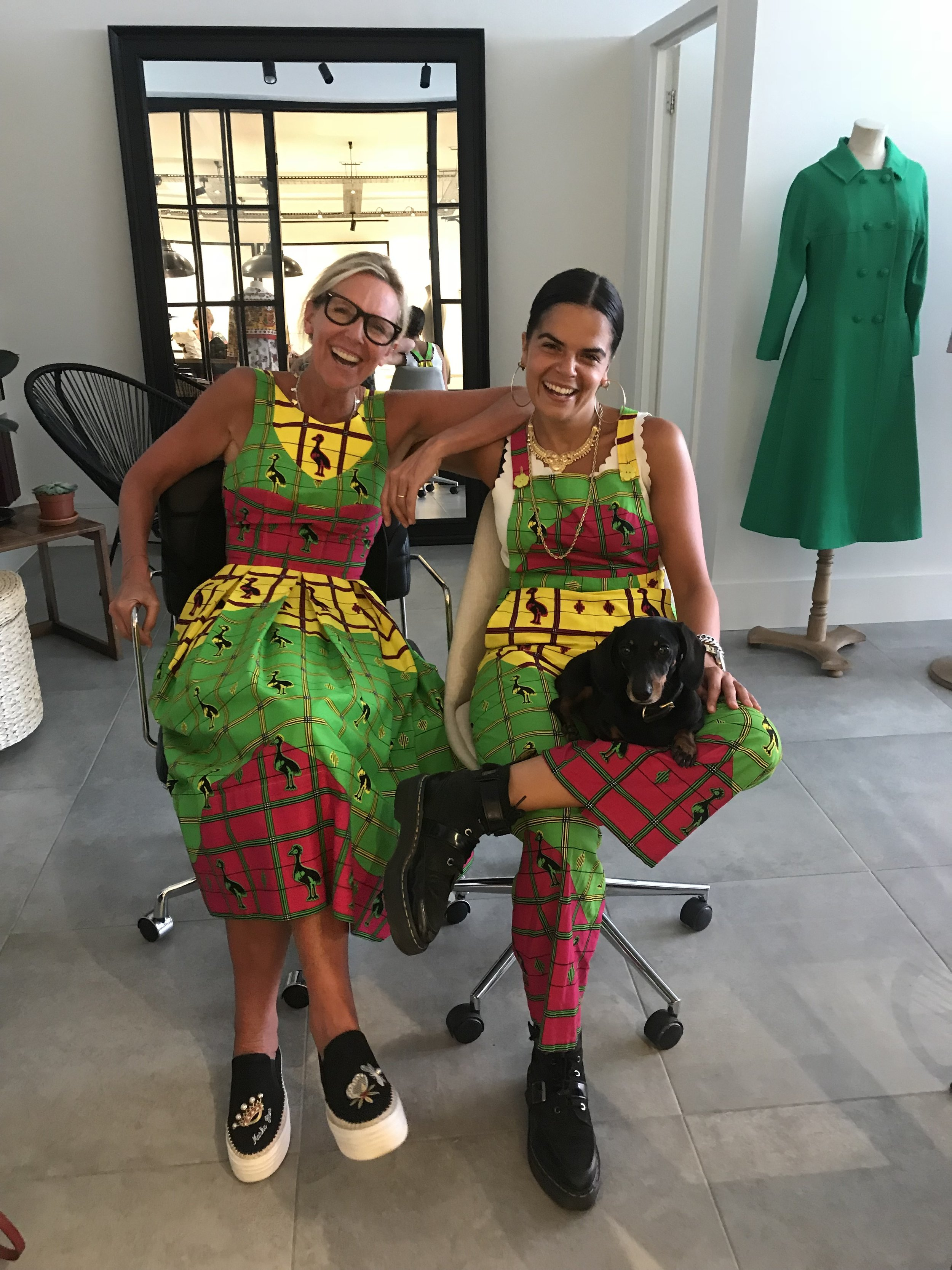 Jet and Nina Wearing a Clashing African Cotton Fabric