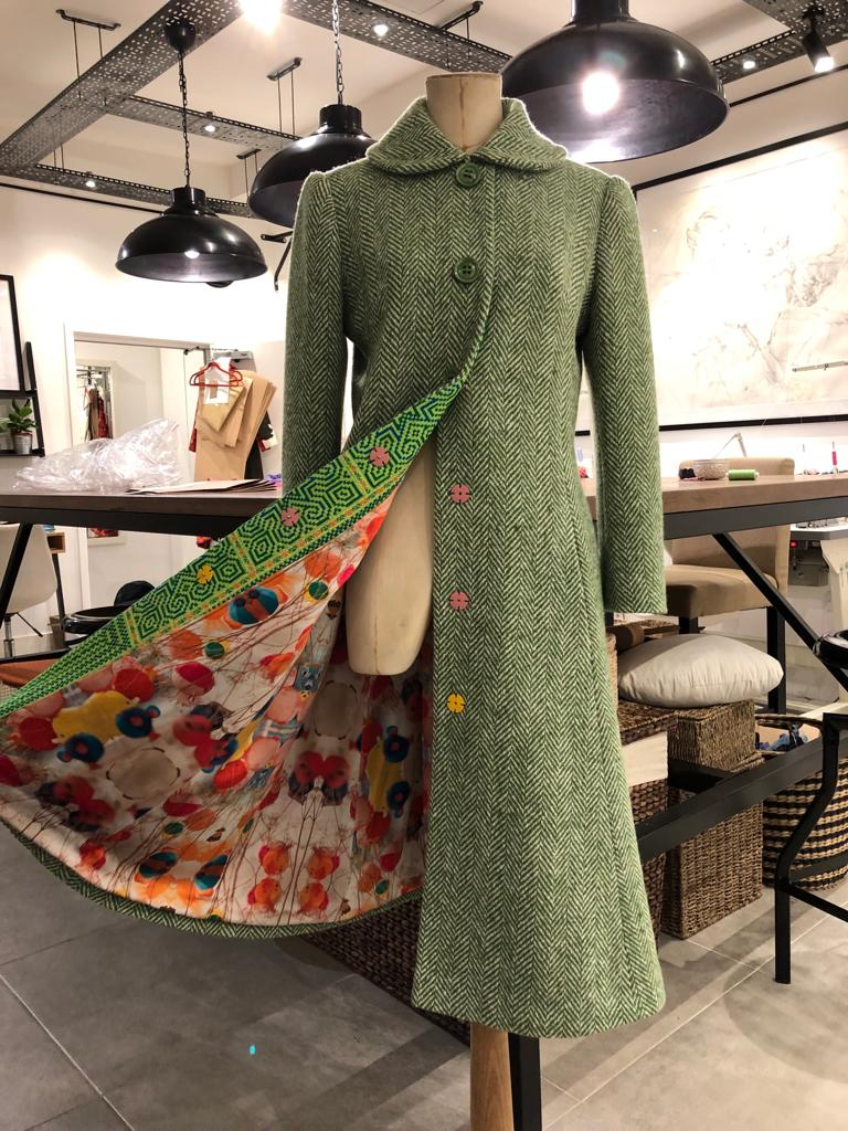 A Green Wool Tweed Coat With a Clashing Trim