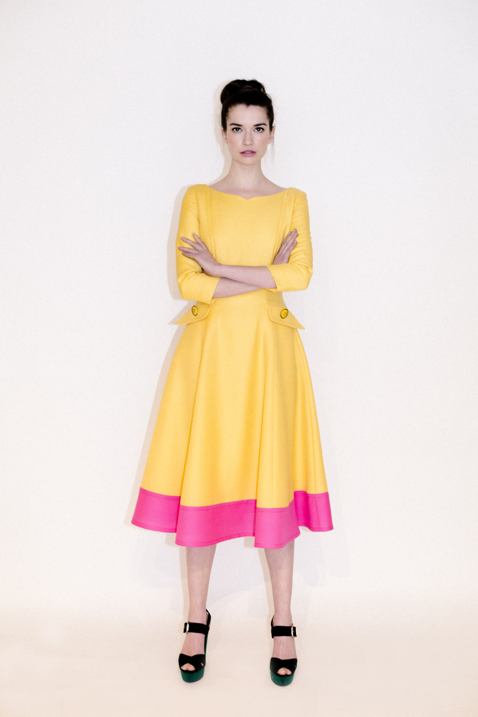 SS17: A Yellow Cocktail Dress with a Hot Pink Trim