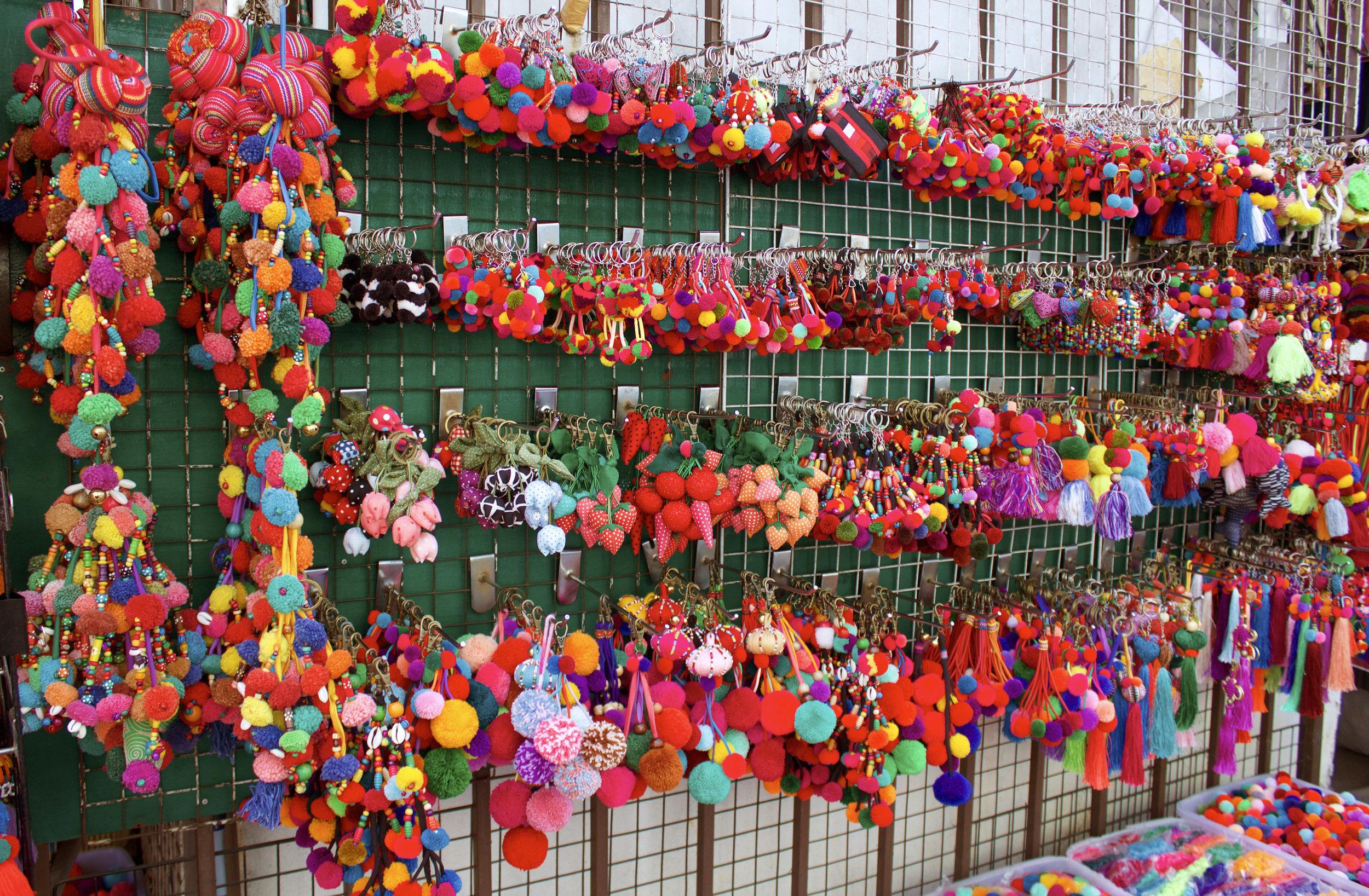 Colourful handmade Hmong trinkets in Chiang Mai