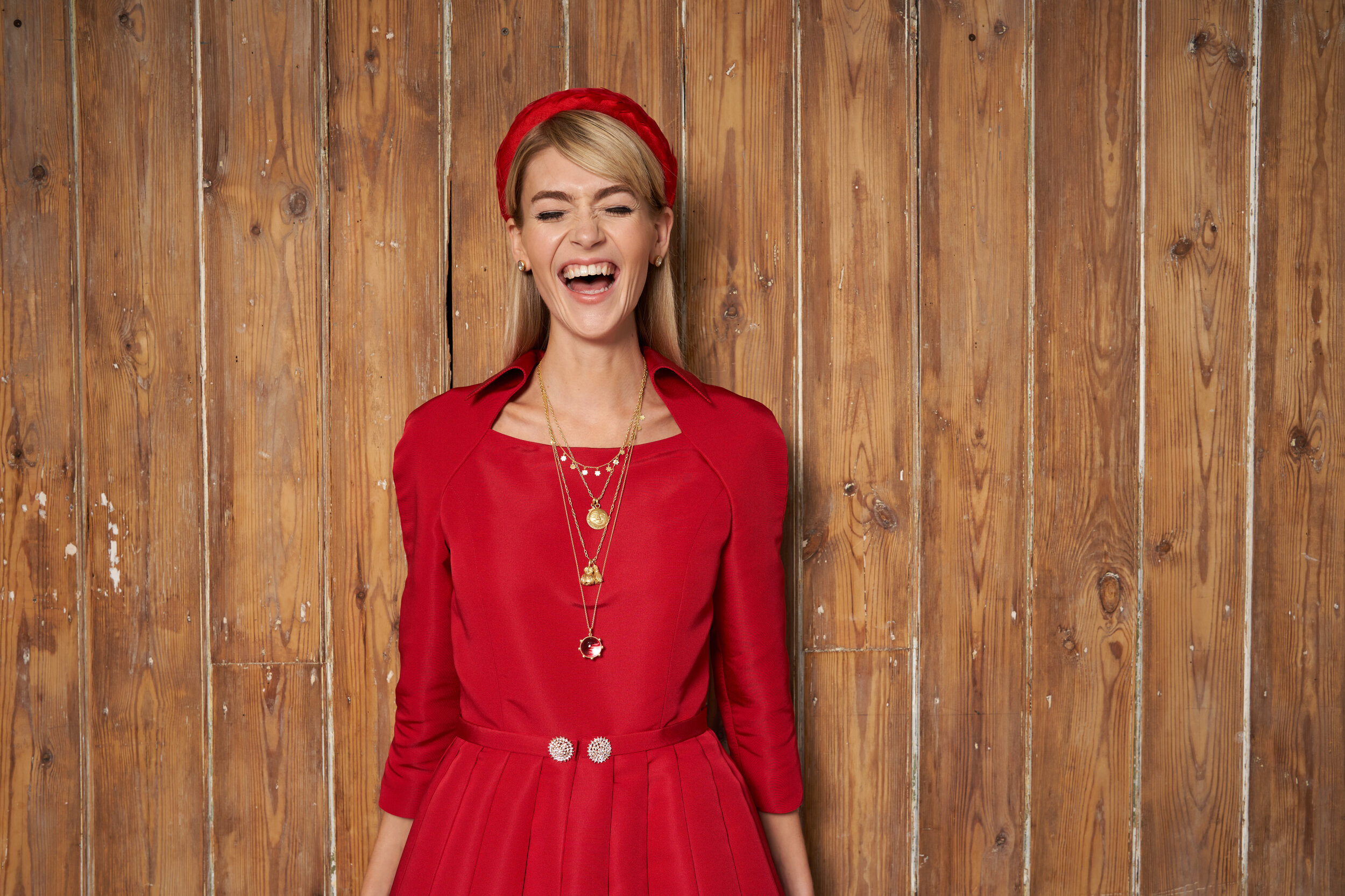 Eve wearing Sophie Theakston necklaces & earrings with our Titania dress at our AW20 shoot
