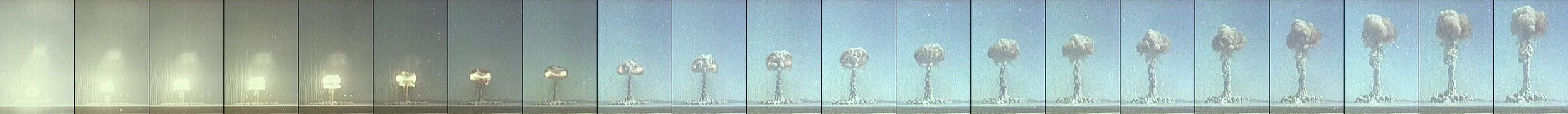 Sequence showing mushroom cloud formation from a U.S. test at the  Nevada Test Site . Video at  archive.org .