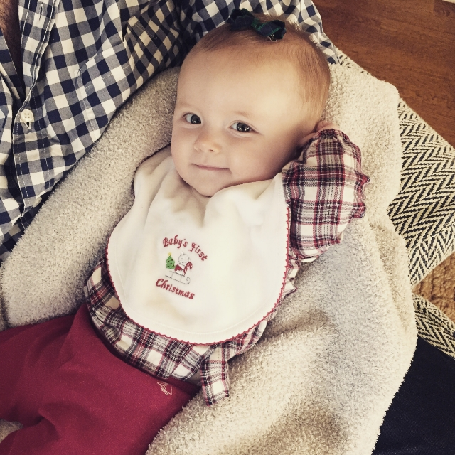 {Baby's First Christmas bib • And pretty plaid bow}