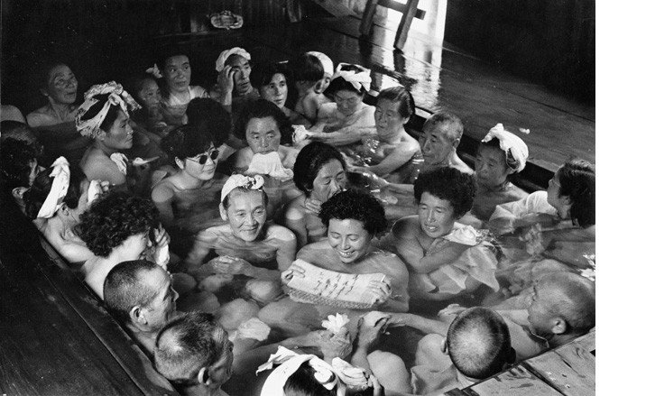 Hiroshi Hamaya. Men and women bathing together in a mountain spa. Aomori, 1957.