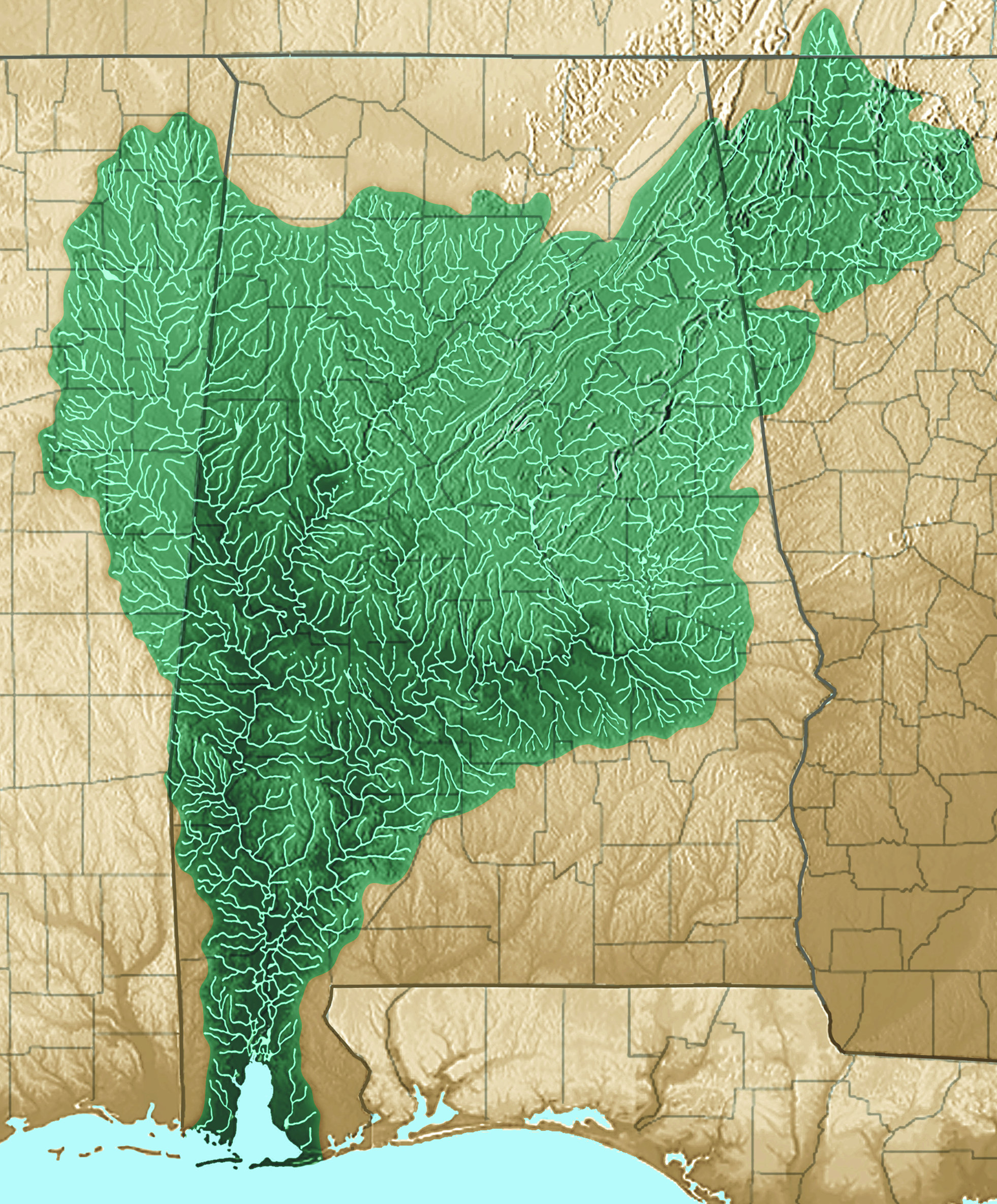 This map shows the extent of the Mobile Bay Watershed.