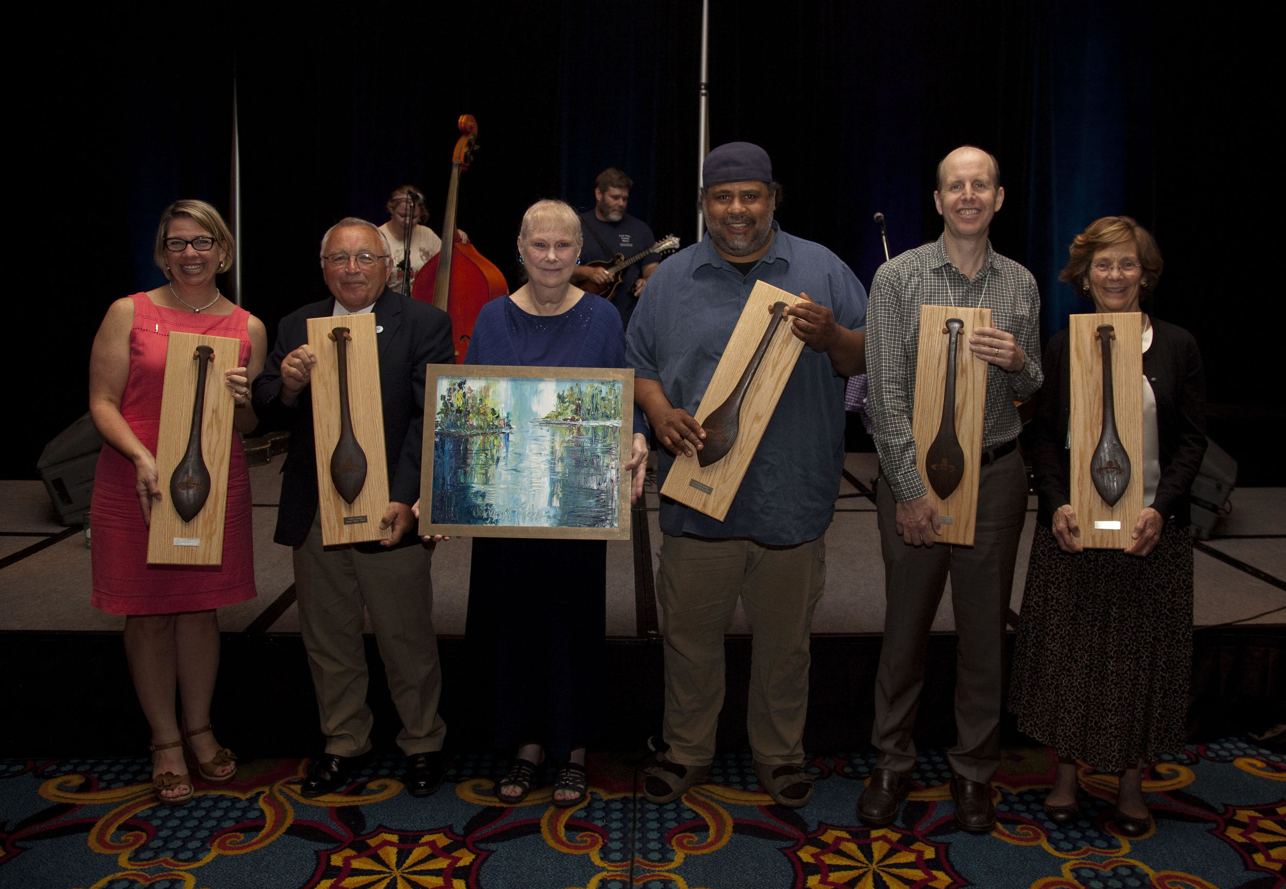 2016 National River Heroes and Compton Award Winner: (L to R): Casi (kc) Callaway (Mobile Baykeeper), John Linkes (Roaring Run Watershed Association), Wilma Surba (James Compton Achievement Award Winner, Subra Company), Derrick Evans (Bridge the Gulf Project), Andrew Purkey (National Fish and Wildlife Federation), and Jan Goldman-Carter (National Wildlife Federation).