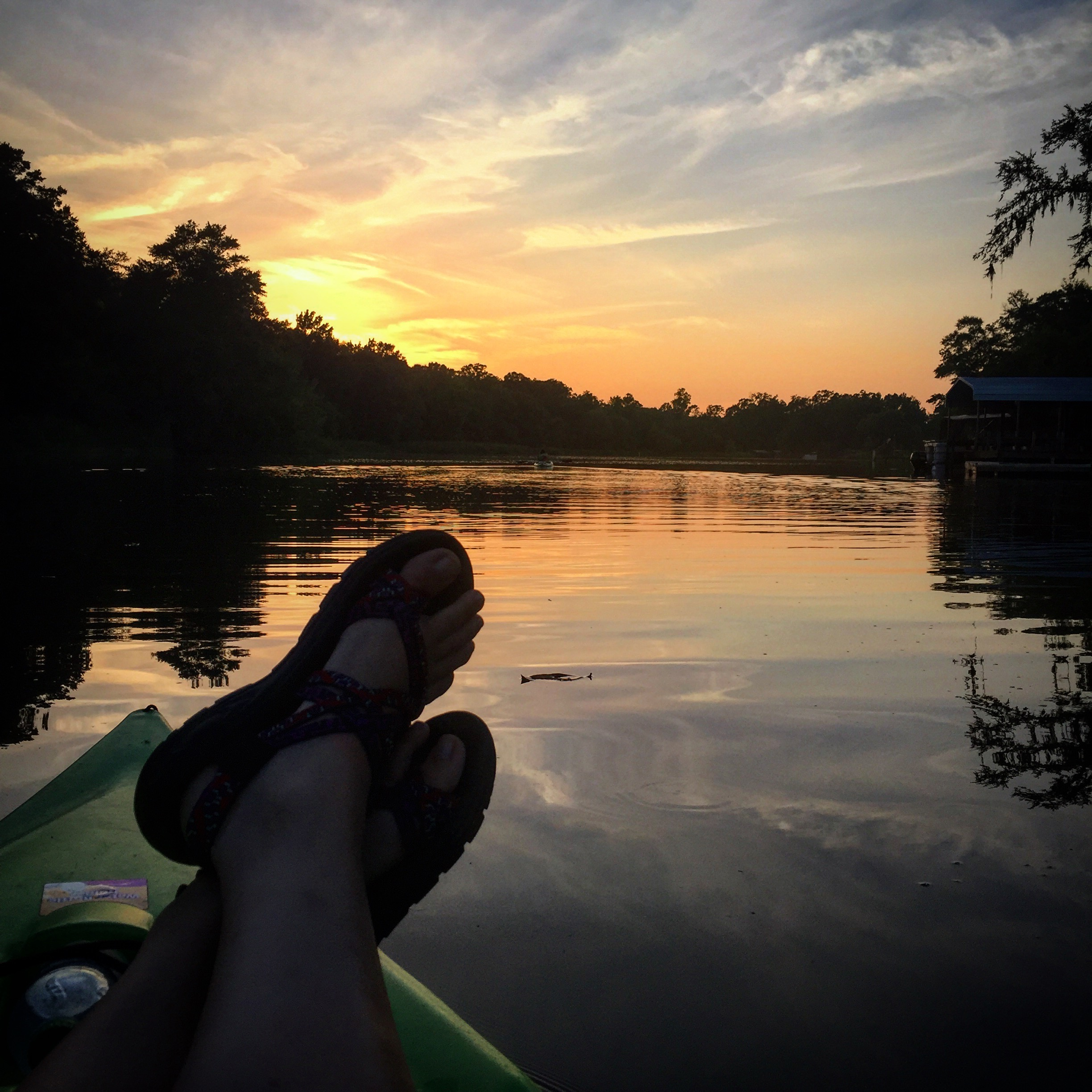 Kayaking and watching the beautiful sunset on Dog River.