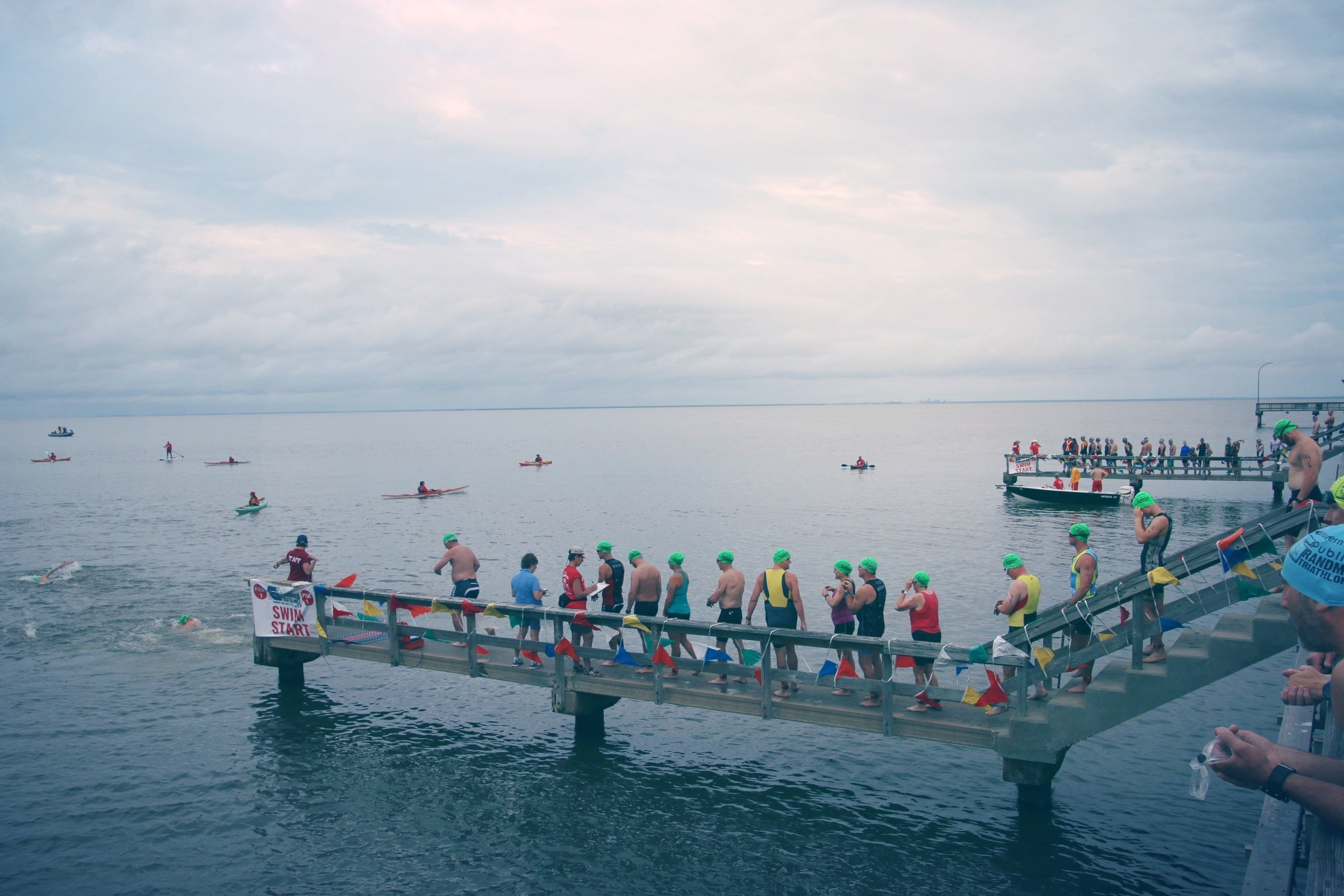For the first time this year, we divided racers into two different finger piers to jump off to help speed up the swim start. It turned out great!