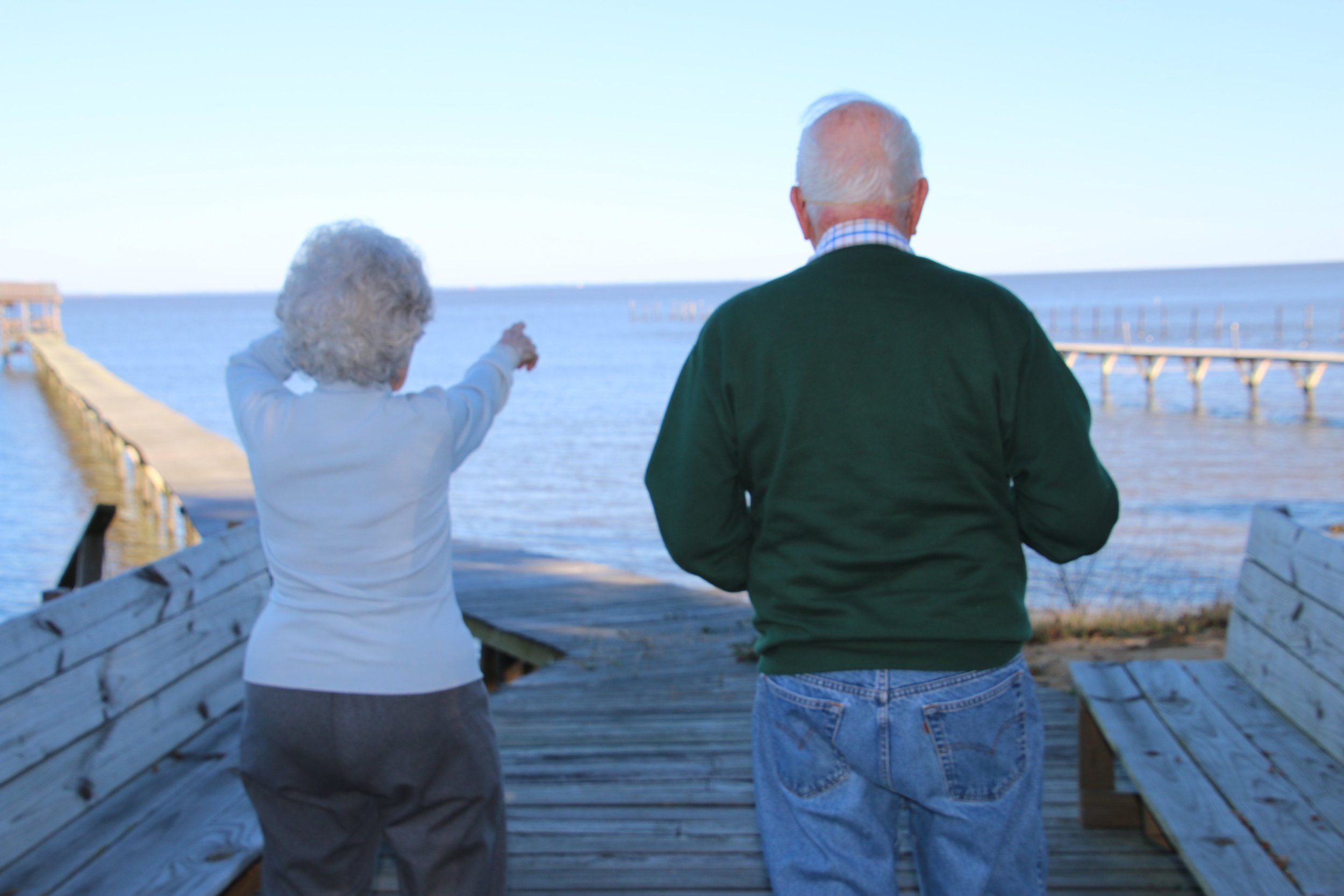 Jack and his wife Janice point to the location where the sewage outfall pipe was supposed to be built in the mid 1990s from their home on Mobile Bay's western shore.