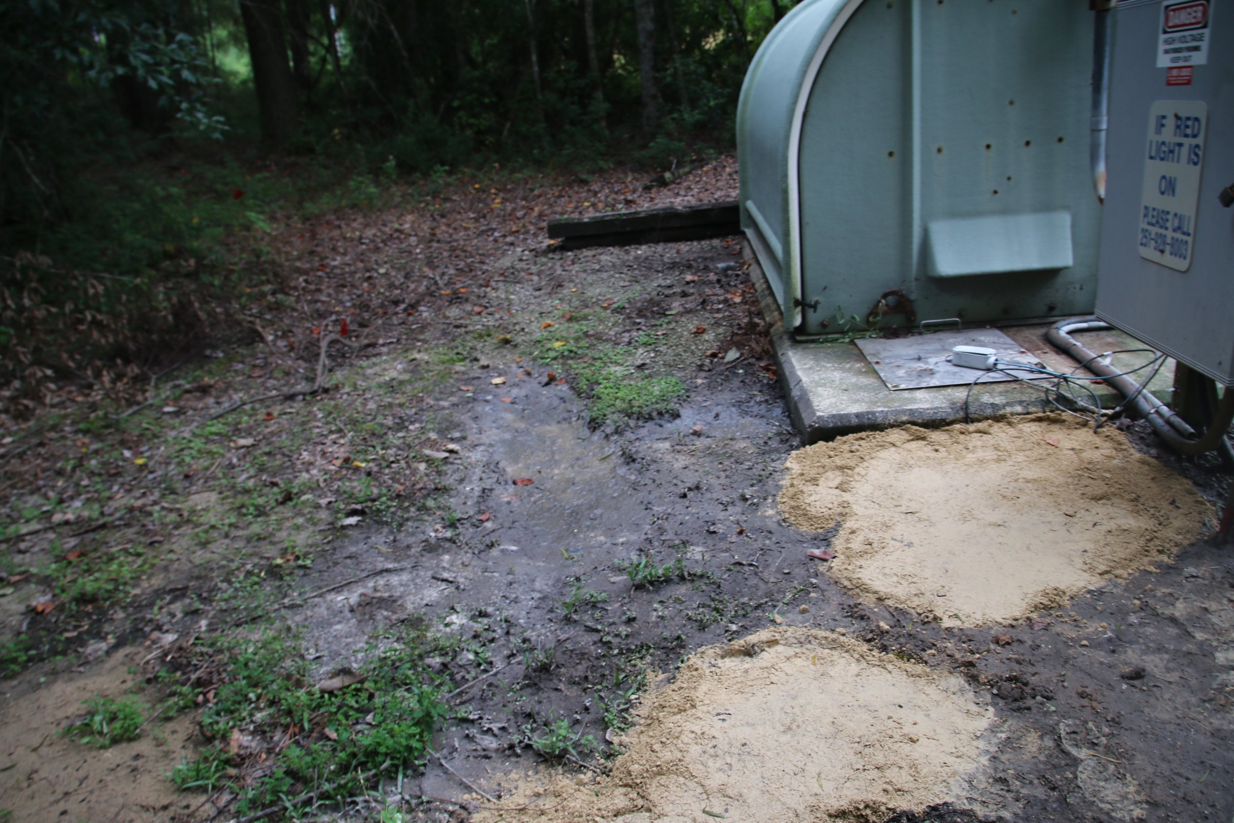 Over 260,000 gallons spilled from this lift station near the Woodlands in Fairhope from Friday (08/04/17) - Monday morning.