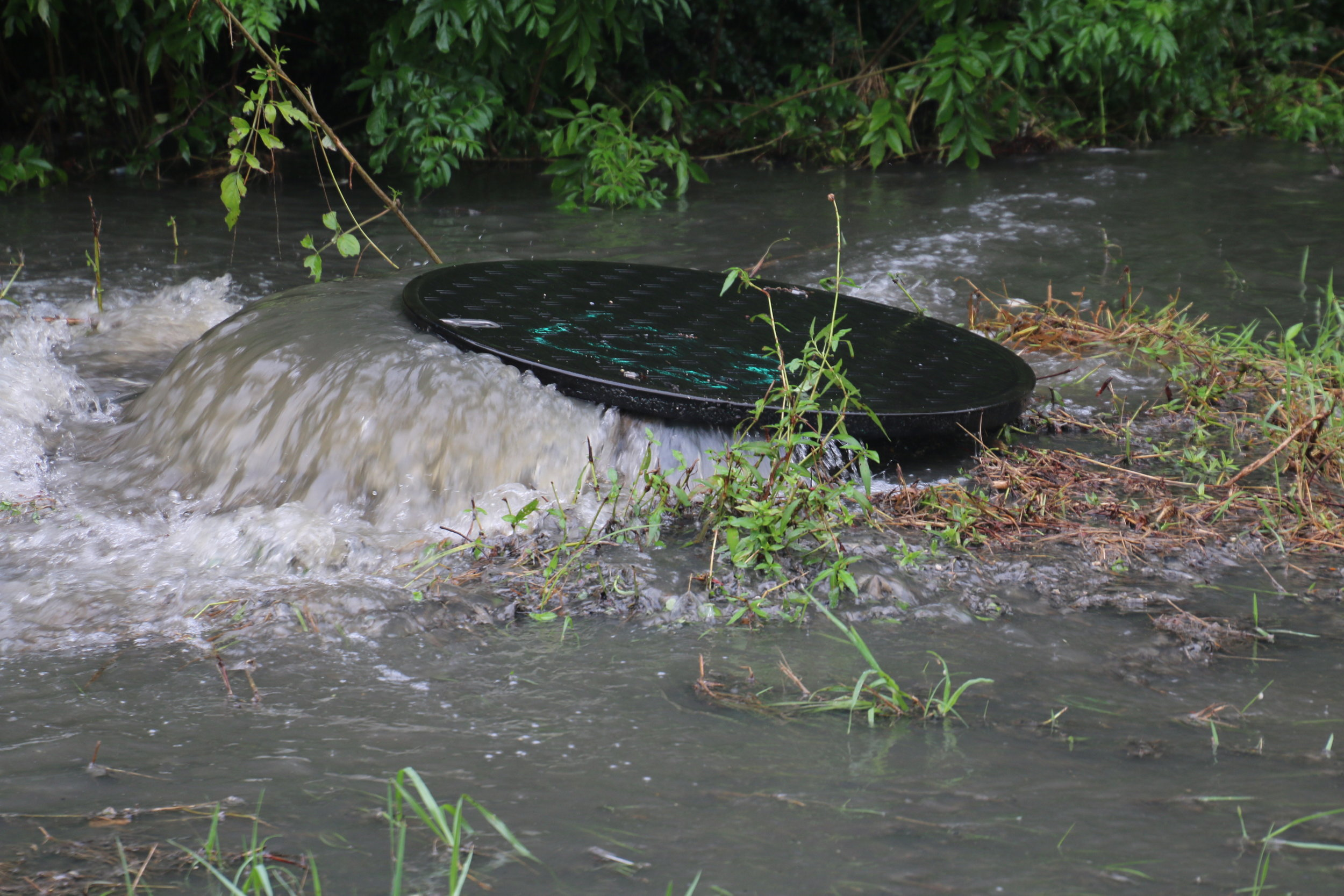 Raw sewage flows from a manhole in Mobile during heavy rains.