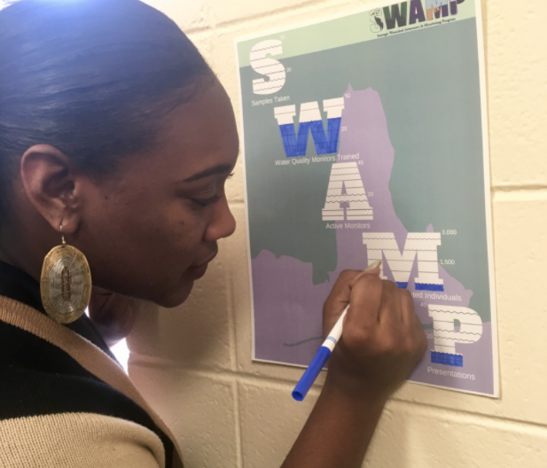 """Daily motivation: Angelica noting the SWAMP performance measures in the """"SWAMP Ladies"""" Office."""