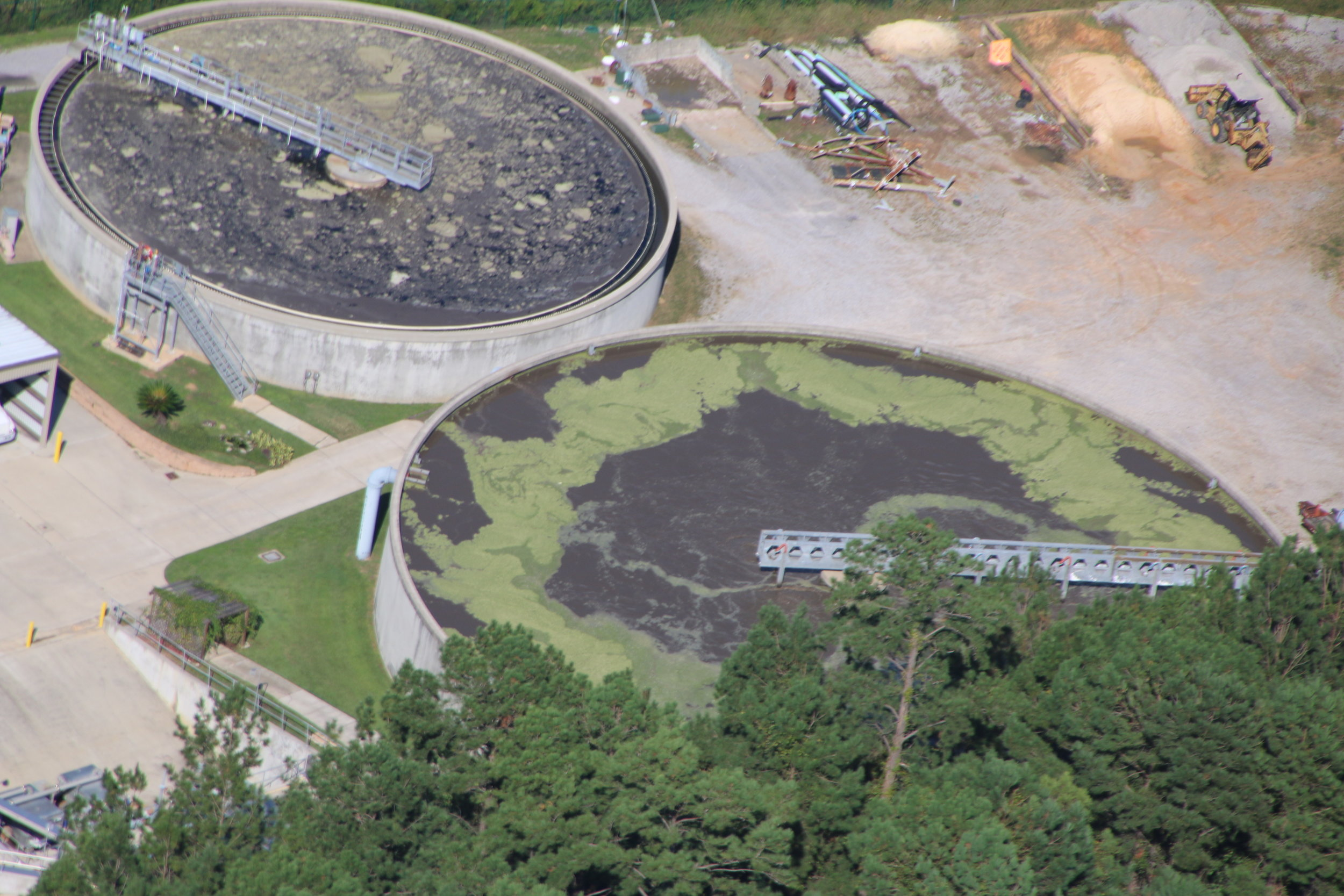 Sludge can be seen entirely covering Daphne Utilities' clarifier. This is a serious failure of the treatment system at the plant and is allowing sewage be discharged into Blakeley River and Mobile Bay with very little treatment.
