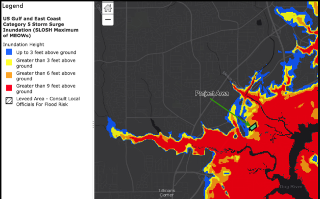 A map based on National Weather Service models shows storm surge potentials in the Dog River watershed. Filling more wetlands will only make these storm surges more severe.