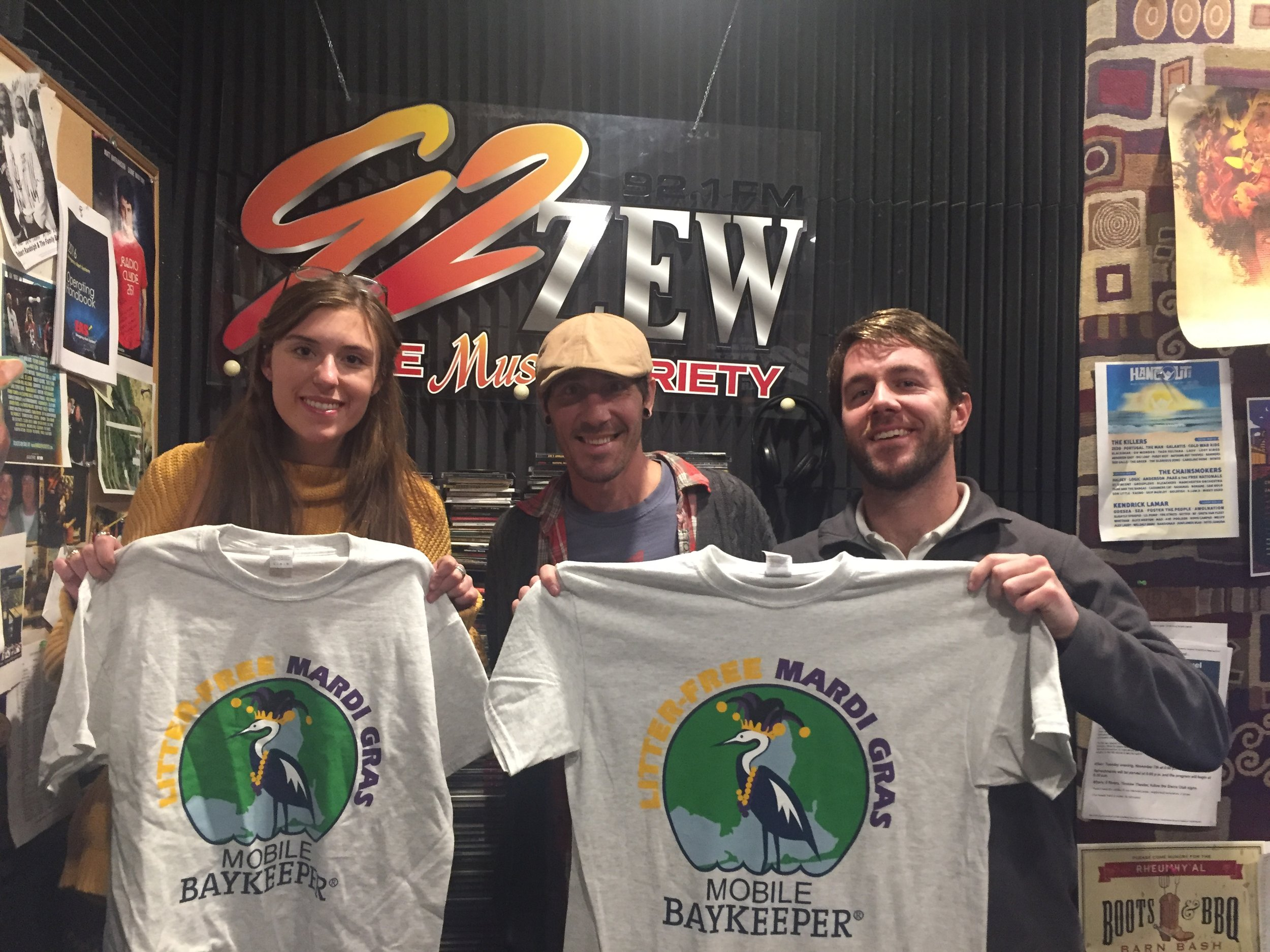 Above: Adele joins Communications Director Hanlon Walsh for a radio interview on 92 ZEW promoting Mobile Baykeeper's Litter-Free Mardi Gras Campaign.   Click here   to learn more!