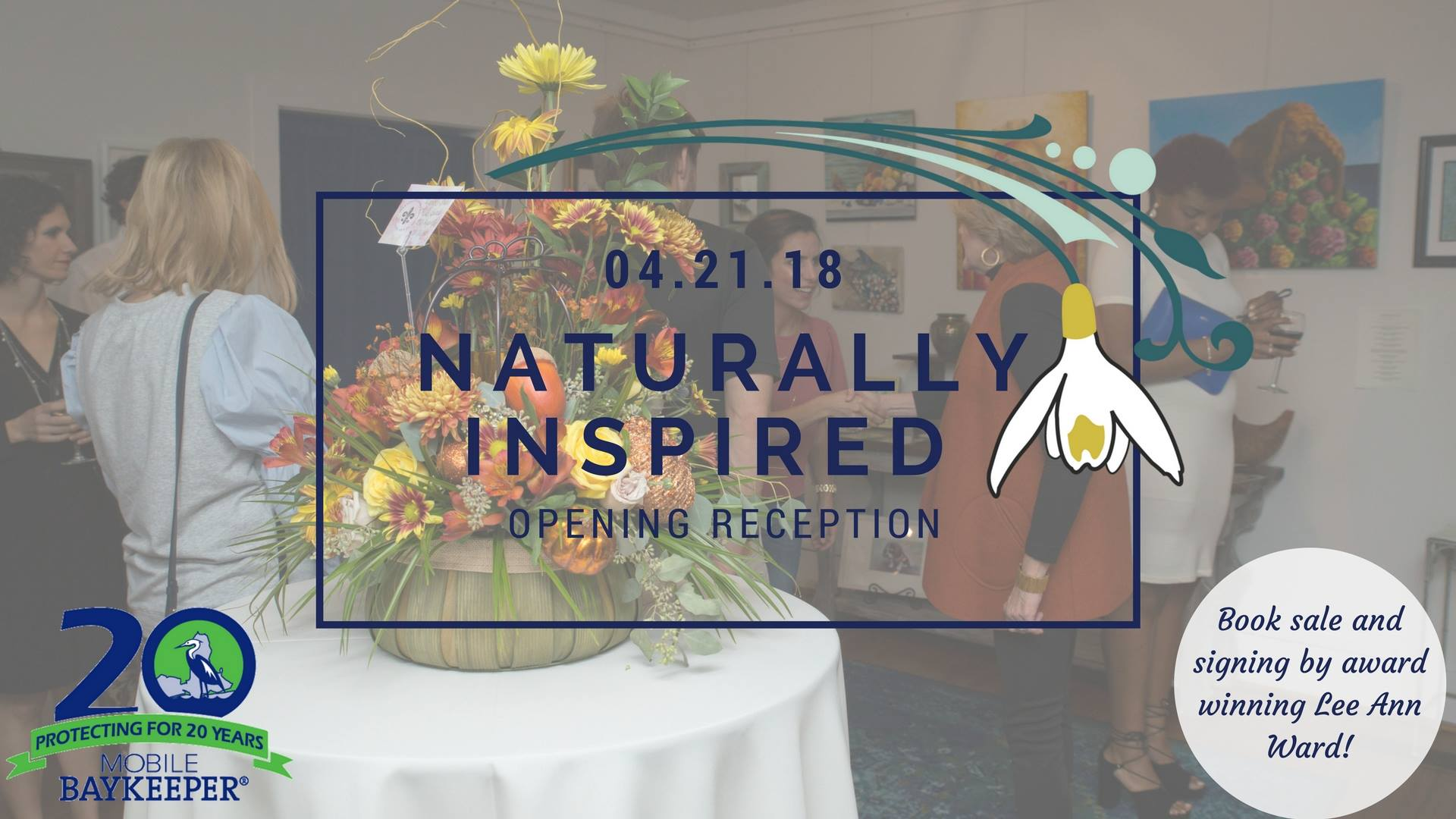 "Featured Event:  "" Naturally Inspired Opening "" at Marnees Studio on Saturday April 21 from 6 p.m. to 9 p.m. FREE to attend and a portion of art proceeds sold will benefit Mobile Baykeeper!"