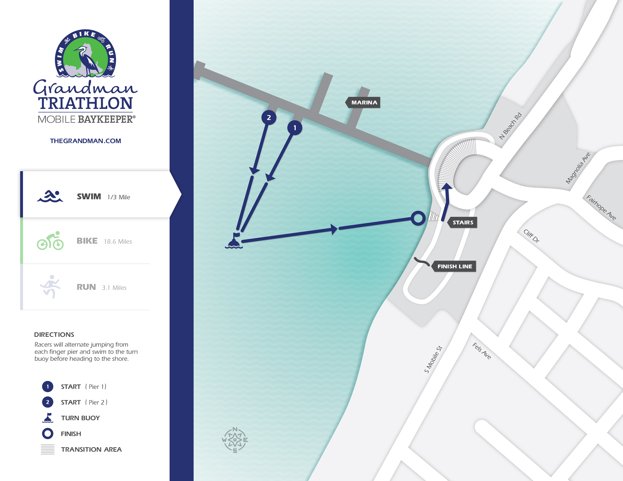 Racers will jump off two finger piers on the Fairhope Pier and swim 1/3-mile to the shore. Map design by    Graves Creative   .