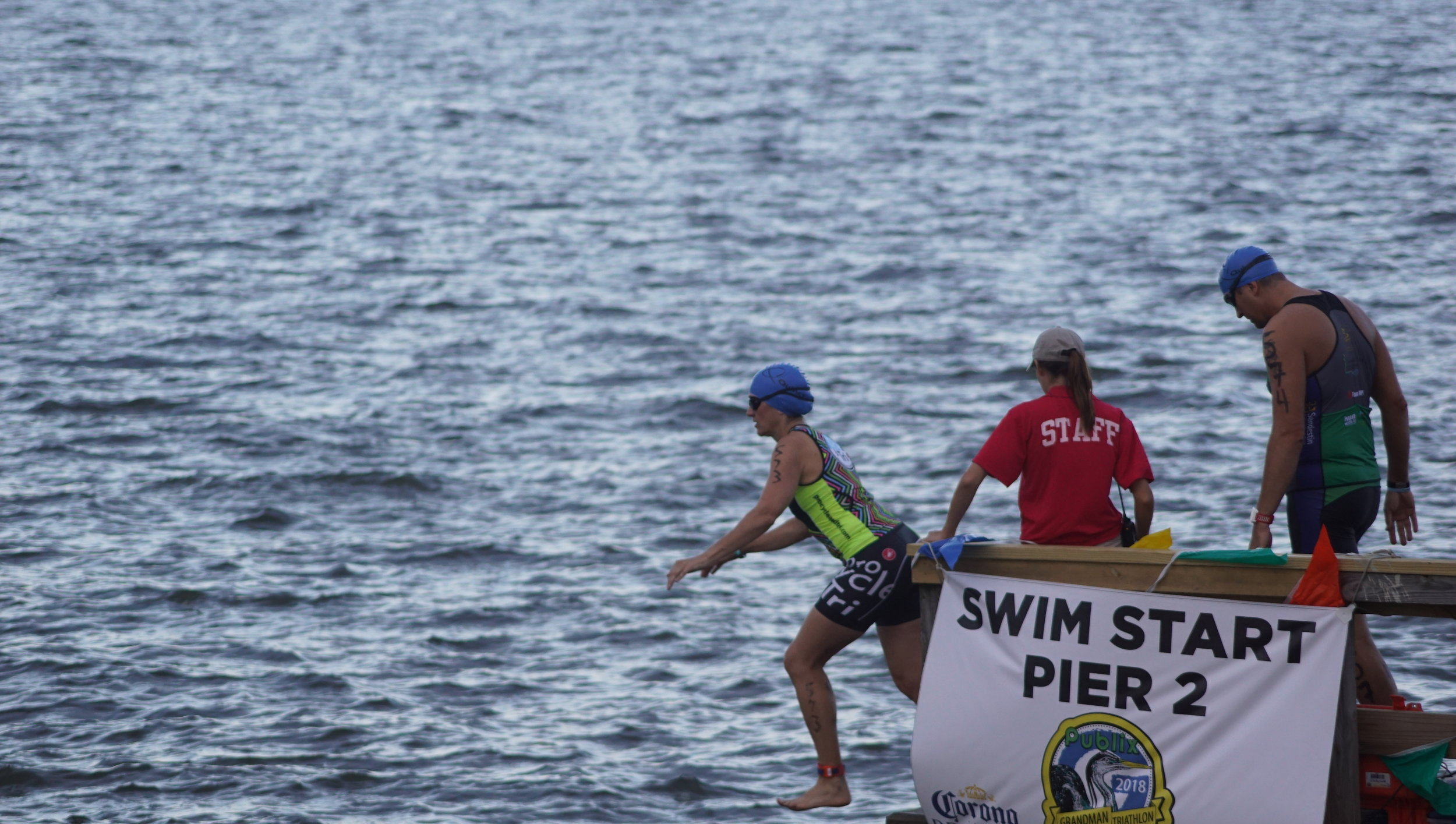 The race began with a 1/3-mile swim in our beautiful Mobile Bay.