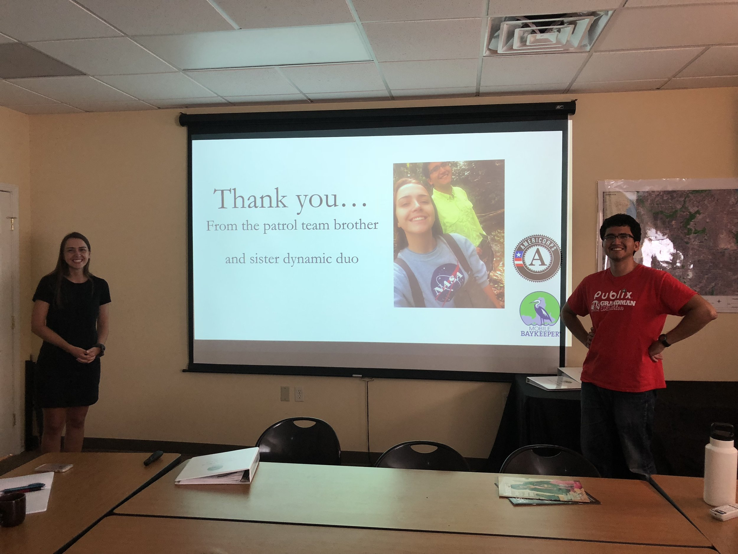 Ellie Mallon and Diego Calderon-Arrieta finished up their term with a final presentation to Baykeeper staff.