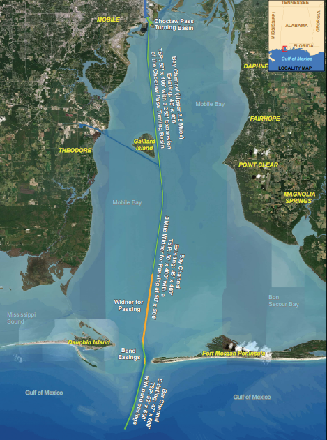 Details of the proposed Mobile Ship Channel expansion are shown above.  Image - United States Army Corps of Engineers