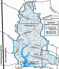The Big Creek Lake watershed shown above is the drinking water source for more than 300,000 people in Mobile and Baldwin County.   Map -    Mobile Area Water and Sewer System