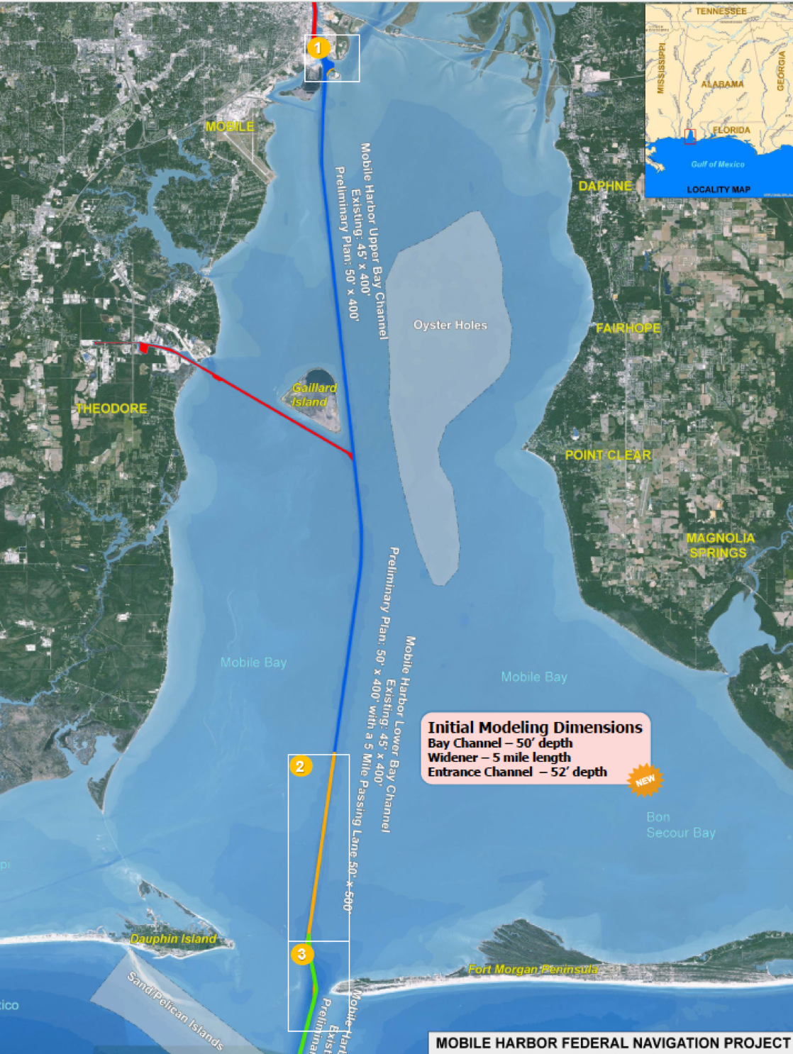 A map from the Corps shows one proposal for the expansion of the ship channel.  Map - U.S. Army Corps of Engineers