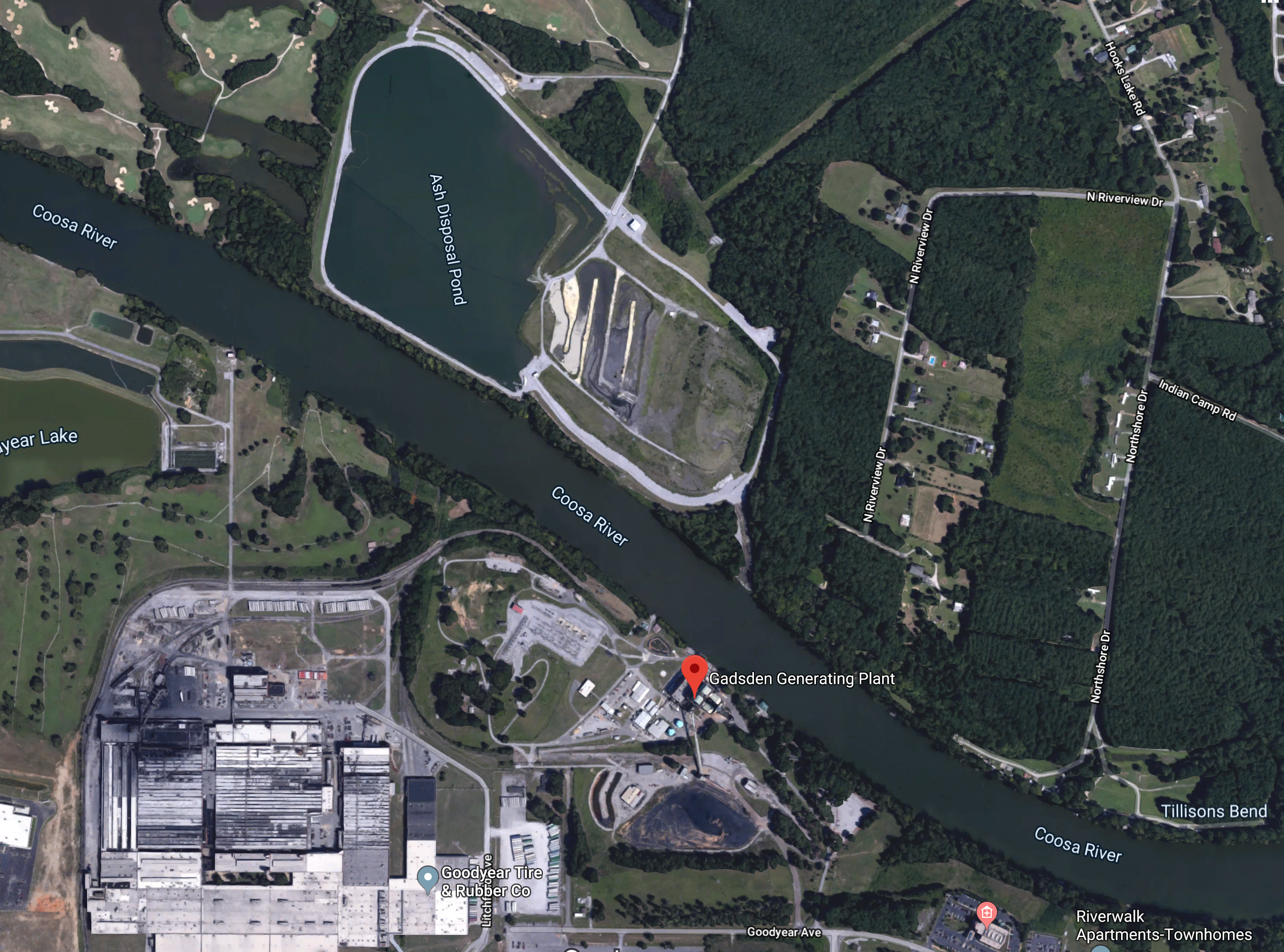 "Google satellite map of Alabama Power's Plant Gadsden in Gadsden, Alabama. The ash disposal ""pond"" is clearly labeled in the top left quadrant, dangerously close to the Coosa River."