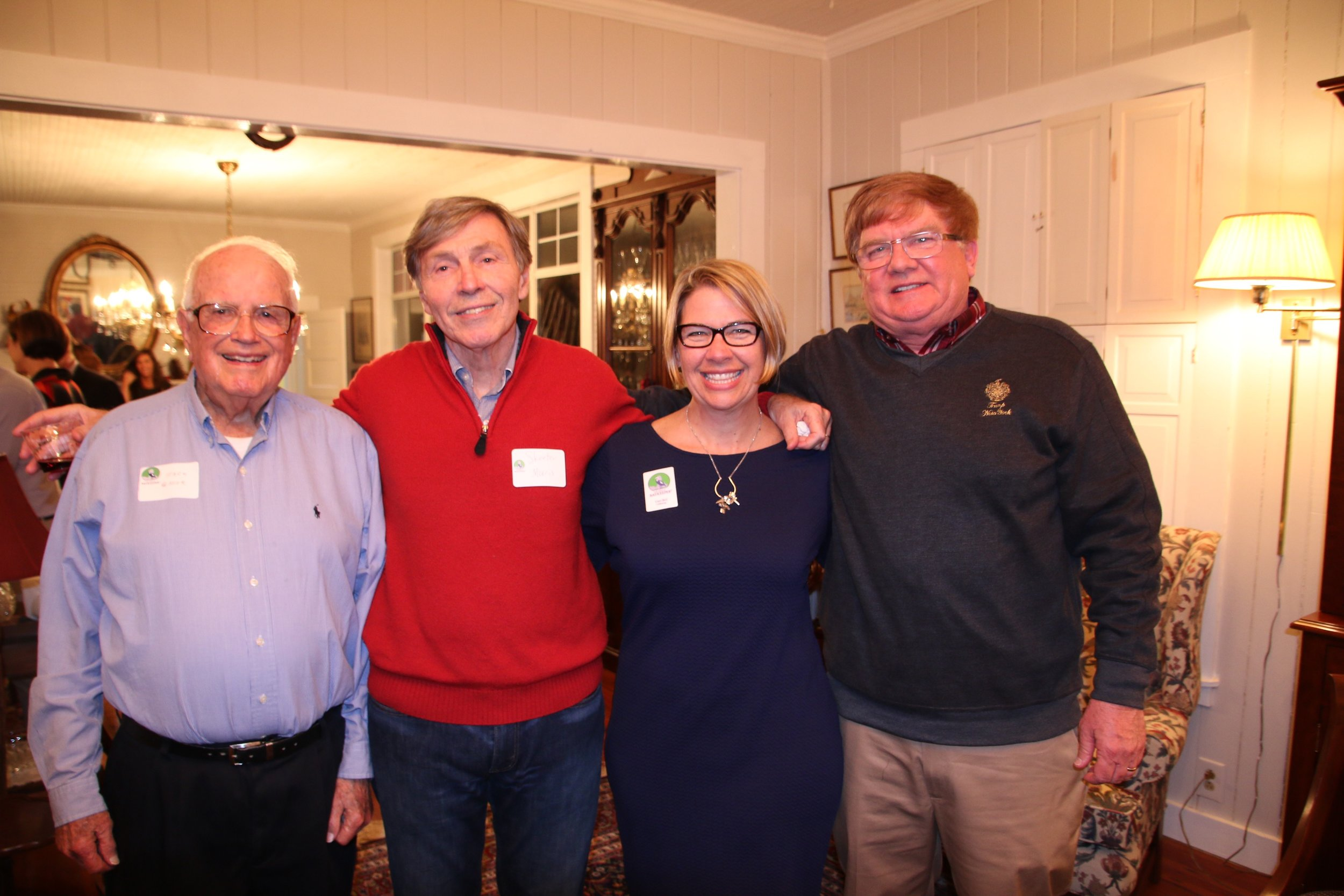 """Casi Callaway with founding members and former presidents of the organization.  From left to right: Jack Greer, Edward """"Skeeter"""" Morris, Casi Callaway, and Logan Gewin."""